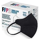 20 FFP2/KN95 Maske Schwarz CE Zertifiziert Kleine Größe, Medizinische Mask mit 4 Lagige Masken ohne Ventil, Staub- und Partikelschutzmaske, Atemschutzmaske mit Hoher BFE-Filtereffizienz≥95|20 Stück