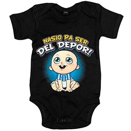 Body bebé nacido para ser del Depor Coruña fútbol - Negro, 6-12 meses