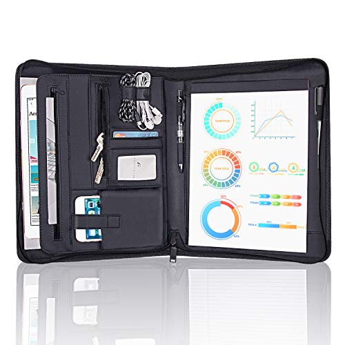 Zippered Padfolio Portfolio Binder, OOWOLF Leather Travel Conference Folder Executive Business Padfolio Case with Writing Pad Tablet, Phone/iPad Pockets, Pen Holder for Interview