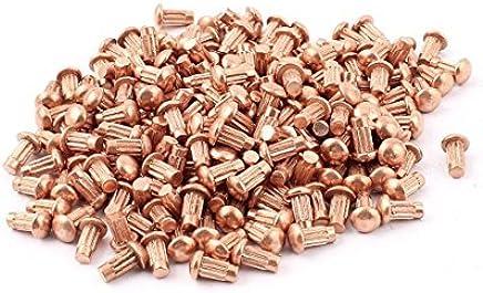 200 PCS 5//64 x 5//16 aluminio Cabeza Redonda de remaches macizos Knurled Shanks