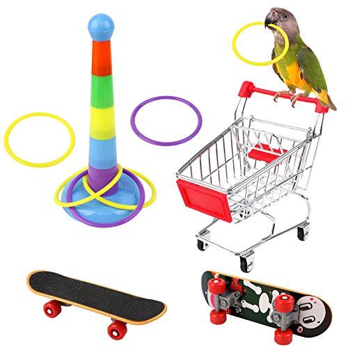 Huahao Papagei Spielzeug Vogel Skateboard Mini-Einkaufswagen Papagei Training Spielzeug Papagei Skateboard Papagei Trainingsringe Vogelspielzeug für Papageien Wellensittiche kleine/mittlere Vögel