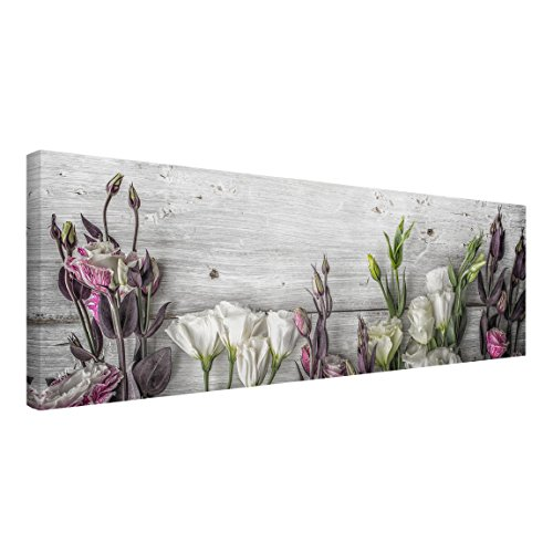 Bilderwelten Cuadro en Lienzo - Tulip Rose Shabby Wood Look - Panorama Apaisado, Cuadros Cuadro Lienzo Cuadro sobre Lienzo Cuadro Moderno Cuadro Decoracion, Tamaño: 30 x 90cm
