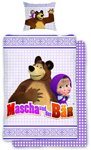 Renforce Bettwäsche Mascha und der Bär 135x200 cm + 80x80 cm