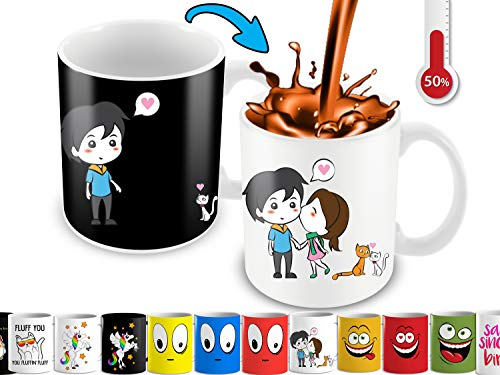 Heat Changing Mug With Lovely Cartoon Couples And Cute Cats Color Changing Coffee Mug | Funny Cute Mug For Woman, Wife, Girlfriend, Mother And Cats Lovers | 11 Oz Ceramic Coffee Mug With Color Box