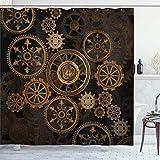 ABAKUHAUS Steampunk Duschvorhang, Dunkle Schattenräder, mit 12 Ringe Set Wasserdicht Stielvoll Modern Farbfest & Schimmel Resistent, 175x200 cm, Dunkelbraun Sandbraun