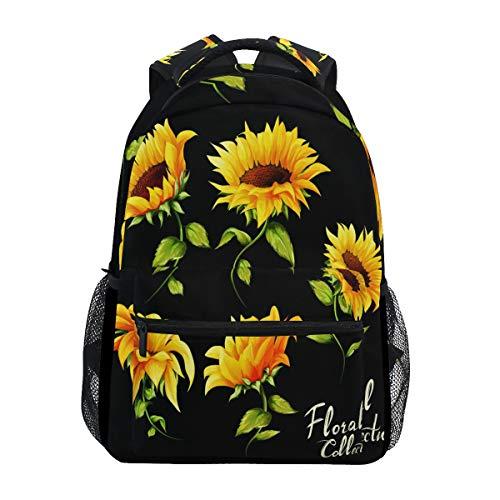 ALAZA Watercolor Art Sunflower Backpack Daypack College School Travel Shoulder Bag