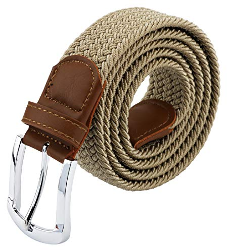 Maikun Braided Elastic Stretch Woven Belt with Leather Tip Nickle Pin 45in Buckle Khaki