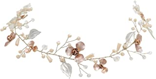 Minkissy Bridal Hair Band Imitation Pearl Inlaid Alloy Flower Retro Elegant Hair Hoop Hair Band Headdress for Wedding Party Banquet (Silver)