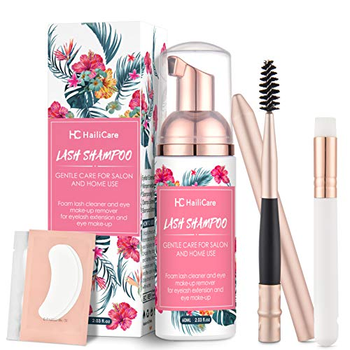 Eyelash Extension Shampoo 60ml + Brush + Mascara Wand + 2 Pairs Under Eye Gel Pads-HailiCare Eyelid Foaming Cleanser/Nourishing Formula/Paraben & Sulfate Free/Eye Makeup Remover/Salon and Home Use