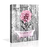 ZEYDRT Canvas Art Vintage Picture Pink Rose Wood Wall Decor Painting Rural Home Decoration Pink Bath Crock Picture Nostalgic Wooden Artwork Watercolor Frame Home Decor Bedroom Bathroom Wall Art