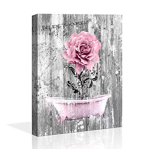 ZEYDRT Canvas Art Vintage Picture Pink Rose Wood Wall Decor Painting Rural Home Decoration Pink Bath Crock Picture Nostalgic Wooden Artwork Watercolor Frame Home Decor Bedroom Bathroom Wall Art