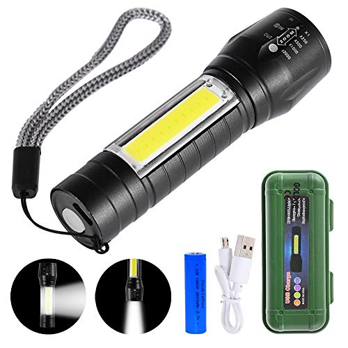 GOLDGE Linterna LED Alta Potencia Linternas para Ciclismo Camping, Portátil Linterna 500 Lúmenes 3 Modos USB recargable Linterna de Alto...