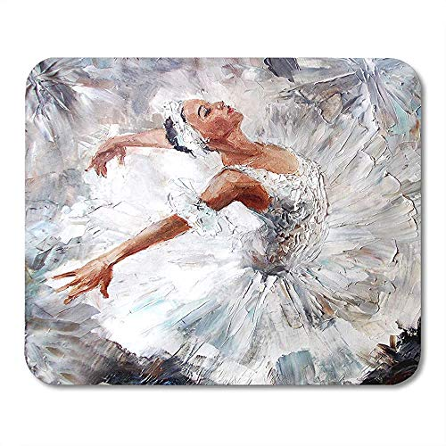Muis Pads Grijs Ballet Olie Schilderij Meisje Ballerina Getrokken Leuke Dansende Dans Artiest MousepadMouse Matten