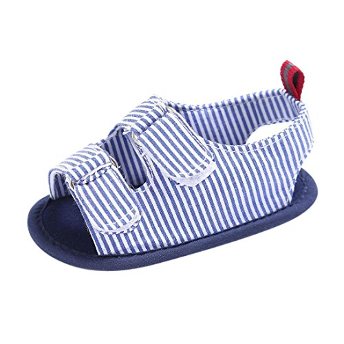Longra Babyschuhe Baby Kleinkind Kinder Mädchen Jungen Leinwand Sandalen weichen Sohle Krabbelschuhe Neugeborenen Sommer Sandalen Lauflernschuhe(0-18Monate) (12CM 6~12 Monate, Blue)