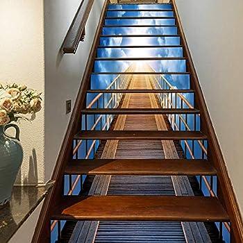 FLFK 3D Puente de madera cielo azul sol auto-adhesivos Pegatinas de Escalera pared pintura vinilo Escalera calcomanía Decoración 39.3 pulgadas x7.08 pulgadas X 13Piezas: Amazon.es: Bricolaje y herramientas