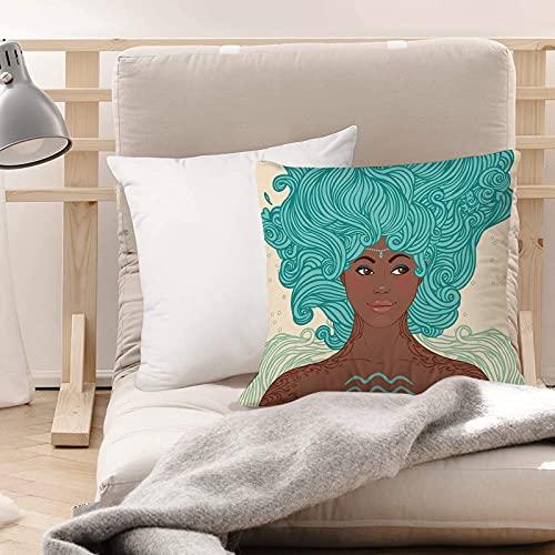 Funda de Cojines Suave Poliéster,Zodiac Aquarius, African Ethnic Lady Beauty Girl Retrato d,Funda de Almohada Cremallera Oculta Duradero Decoración para Sofá Cama Dormitorio Aire Libre Oficina 45x45cm