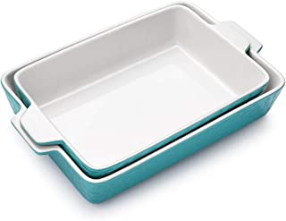 Bakeware Set, Krokori Rectangular Baking Pan Ceramic Glaze Baking Dish for Cooking, Kitchen, Cake Dinner, Banquet and Dail...