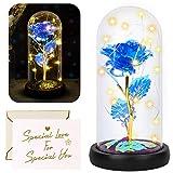 Yodeace rosa eterna azul, rosa eterna flor azul artificial en cúpula de cristal con luz led tarjeta de felicitación para san valentín cumpleaños boda aniversario regalo decoración del hogar