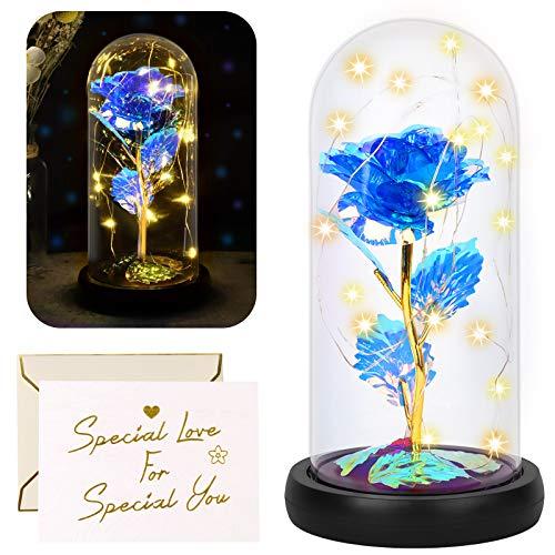 Yodeace Rosa Stabilizzate, Fiore Blu Artificiale in Cupola di Vetro con Luce LED Biglietto di auguri per San Valentino, Compleanno, Matrimonio, Anniversario, Regalo Decorazione per la Casa Rose