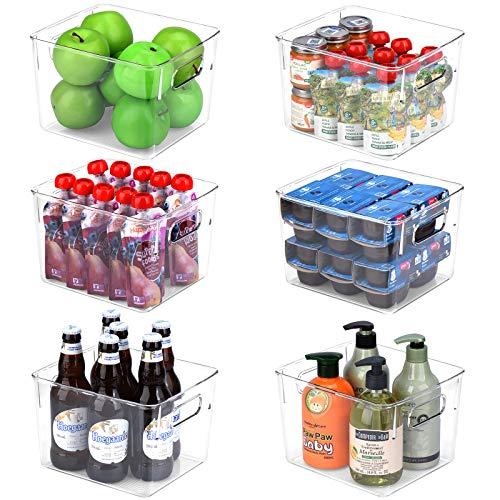 Toplife Contenedor organizador de plástico transparente para cocina, despensa, congelador, encimeras, armarios, oficina, tamaño mediano, juego de 6