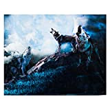 Wolf Throw Blanket, Extra-Large Wolf Blanket for Adults, Boys, and Girls, Wolf Fleece Blanket with Wolves Howling at the Full Moon Theme (50in x 60in) Wolf Décor Gifts for Christmas, Warm Cozy Soft
