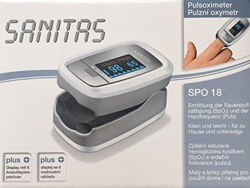 Sanitas Pulsoximeter Sauerstoffsättigung Herzfrequenz Puls,ermittelt Sauerstoffsättigung & Herzfrequenz