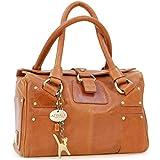 Catwalk Collection Handbags - Cuir Véritable - Sac Porté Main/Sac à Main/Sac porté épaule - Femme - CLAUDIA - Tanne