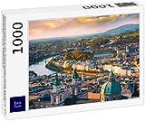 Lais Jigsaw Puzzle Vista panorámica de la histórica ciudad de Salzburgo con el río Salzach en la hermosa puesta de sol, Salzburger Land, Austria 1000 piezas