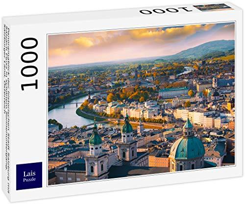 Lais Jigsaw Puzzle Vista panorámica de la ciudad histórica de Salzburgo con el río Salzach en la hermosa puesta de sol, Salzburger Land, Austria 1000 Piezas