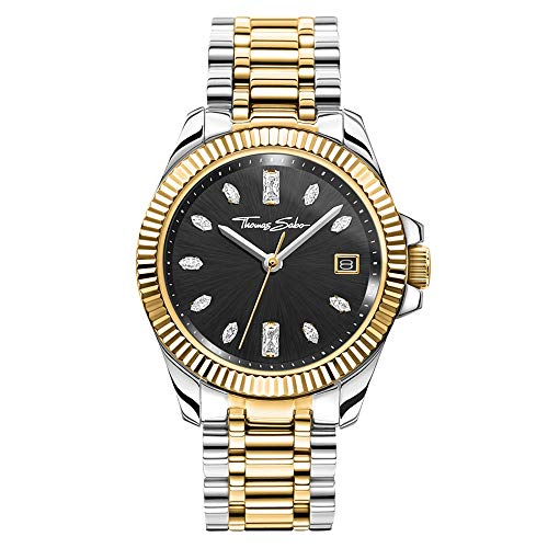 THOMAS SABO Damen Analog Quarz Uhr mit Edelstahl Armband WA0370-291-203-33 mm