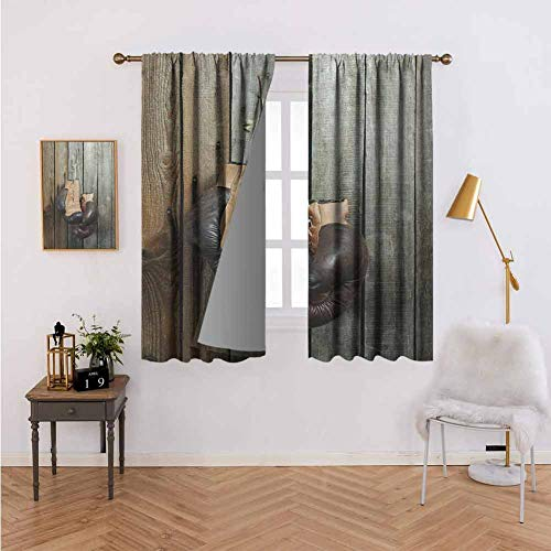 Blackout Curtains for Living Room-Curtain Vintage Boxing Gloves on The Old Wooden Background Antique Equipment Photo Art Print,Decorative Shading W55 x L39 Set of 2 Panels