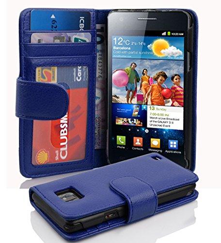 Cadorabo Hülle für Samsung Galaxy S2 / S2 Plus - Hülle in KÖNIGS BLAU – Handyhülle mit 3 Kartenfächern - Case Cover Schutzhülle Etui Tasche Book Klapp Style