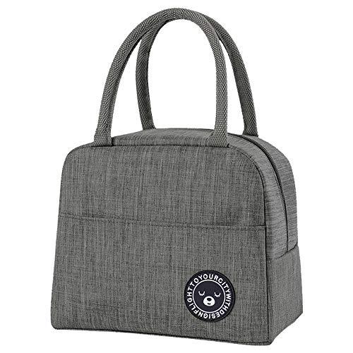 ZoneYan Lunch Tasche Isoliertasche, Kleine Faltbare Kühltasche Zur Arbeit Schule, Picknick-Handtasche Für Frauen, Erwachsene, Studenten und Kinder (Gray)