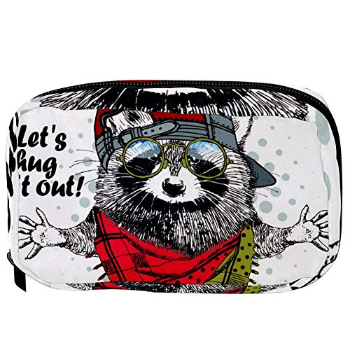 TIZORAX Cosmetic Bags Cool Hat Glass Scarf Hamster Handy Toiletry Travel Bag Organizer Makeup Pouch for Women Girls