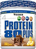 Weider Protein 80 Plus, Proteina de suero de suero de leche, Sabor Chocolate, 750 gr