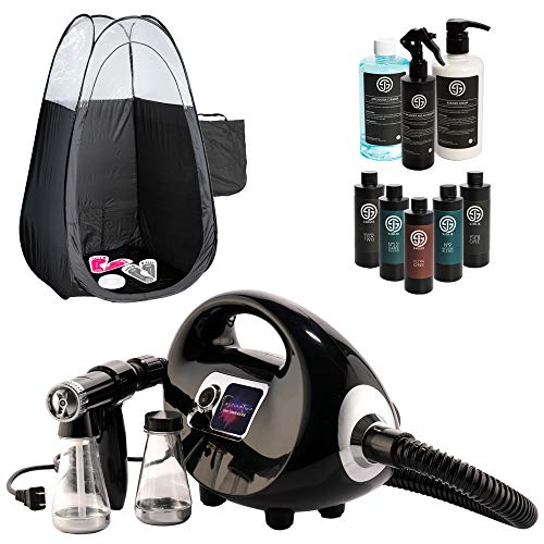 Fascination Spray Tanning Machine Kit with Sjolie Natural Sunless Tanning Solution and Pro Supplies Bundle including Disposable Spa Feet and Pop Up Tent
