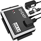 BYEASY SATA/IDE to USB 3.0 Adapter, USB-A and USB-C Plugs Hard Drive Adapter for Universal 2.5'/3.5' Inch IDE and SATA External HDD/SSD with 12V 2A Adapter, Support 12TB for Windows and Mac OS HD02