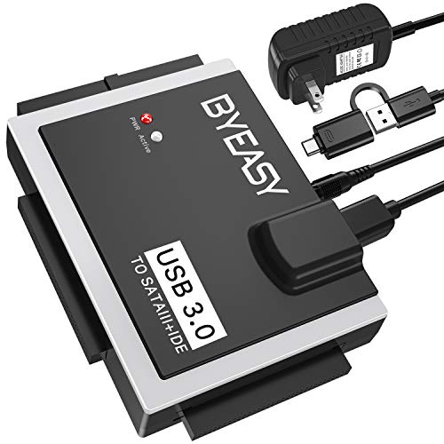 BYEASY SATA/IDE to USB 3.0 Adapter, USB-A and USB-C Plugs Hard Drive Adapter for Universal 2.5