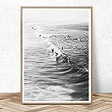 AdoDecor Cuadro en Lienzo, póster de Surf en Blanco y Negro, Arte de Pared de California, impresión del océano, Playa, Decoraciónación Modernoa para el hogar, 50x72cm sin Marco