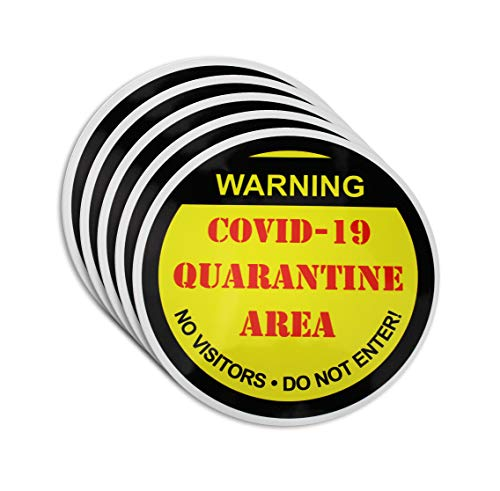 Covid-19 Quarantine Area Restricted Access Notice for Coronavirus – 6.625 Inch Round Waterproof Removable Floor Sticker Sign – Social Distancing Signage – 5 Pack