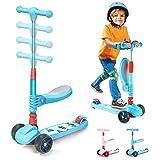 Arkmiido 3 in1 Roller Kinder ,Kinder Scooter für Kinder mit Klappbarem und Abnehmbarem Sitz, Einstellbarer Höhe, 3 LED-Lichträdern, Roller für Kinder von 3 bis 12 Jahren, Jungen und Mädchen.(Blau)