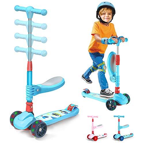Patinete para Niños con Asiento Plegable y Extraíble Altura Ajustable 3 Ruedas de Luz LED|Scooter 3 en 1 para Niñas y Niños de 3 a 12 Años (Azul)