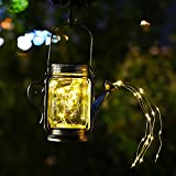 1 Packung Gießkanne Deko Mit Lichter Solar, Garten Gießkanne Lichter Gartenlichter Deko Solarlampe Glas für Außen mit IP67 Wasserdicht, Solarleuchte Glas Hängend für Balkon Garten Hof Deko…