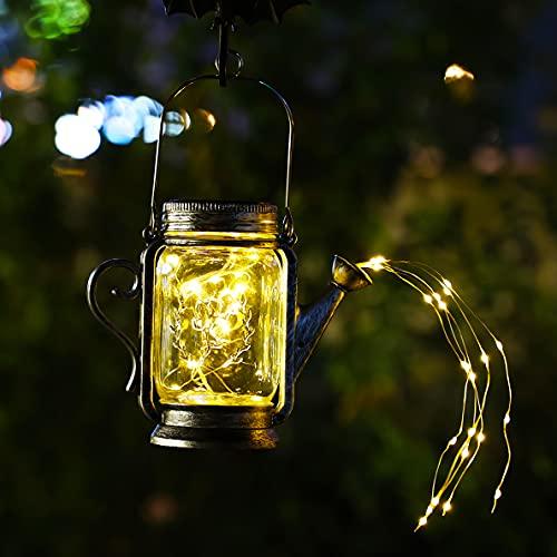 1 Packung Gießkanne Deko Mit Lichter Solar, Garten Gießkanne Lichter Gartenlichter Deko Solarlampe Glas für Außen mit IP67 Wasserdicht, Solarleuchte Glas Hängend für Balkon Garten Hof Deko