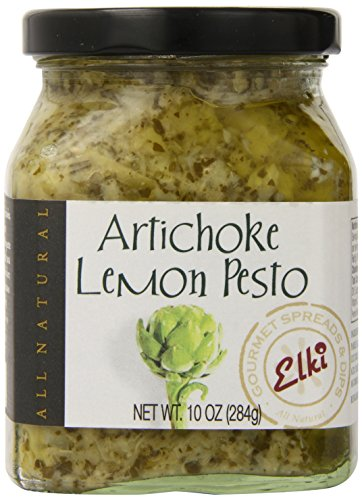 World Market Elki's Gourmet Artichoke Lemon Pesto Sauce - Creamy Spreads for Pasta, Baked Chicken, Fish and Crackers - Made from Fresh and Natural Ingredients - Mediterranean Inspired - 10 Ounce