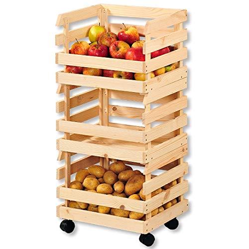 KESPER 69581 Boîte de Pommes de Terre/Fruits 58x80x34 en Bois, Beige/Marron, 58 x 80 x 34 cm