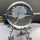 HDCRYSTALGIFTS - Pisapapeles de bola de cristal tallada en 3D, trébol de cuatro hojas con soporte de floración chapado en plata, 60 mm