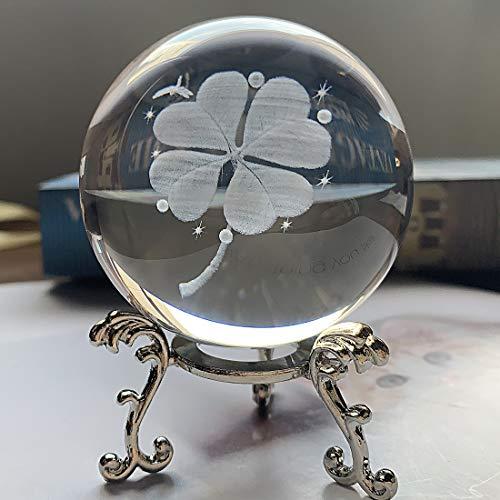 HDCRYSTALGIFTS - Pisapapeles de bola de cristal tallada en 3D, trébol de...