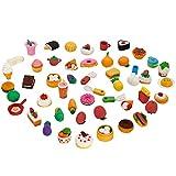 ThinkMax Animal y Gomas de borrar Comida, Lindo Goma Gomas de borrar lápiz, Colorido del Partido del Favor de los niños Bolsa Rellenos (50 Piezas de Comida)