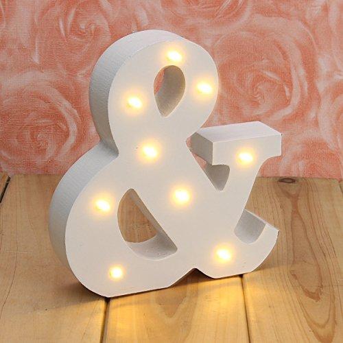 VSOAIR LED Letter, Décoratif en Haut dans Les Lumières Lettre D'alphabet en Bois Blanc Chaud MDF, avec des Lumières LED à Pile, Lettre (&)